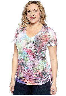 New Directions Plus Size Floral Print Ruched Sides Tee