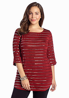 New Directions® Plus Size Roll-Tab Sleeve Sequin Top
