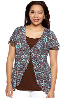 New Directions Plus Size Flutter Sleeve Layered Top