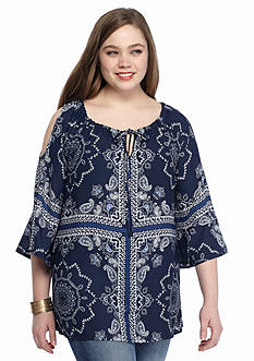 New Directions Plus Size Bandana Printed Top