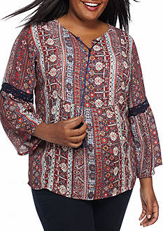 New Directions Plus Size Lace Inset Neck Tie Woven Top