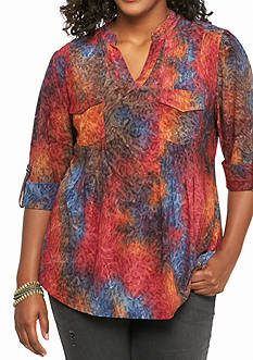 New Directions Plus Size Jacquard Multi Henley Top