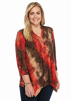 New Directions Plus Size Jacquard Printed Henley Top