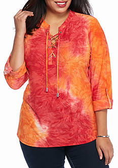 New Directions Plus Size Ombre Jacquard Top