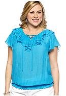 New Directions® Plus Size Ruffled Collar Top
