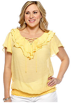 New Directions Plus Size Ruffled Collar Top