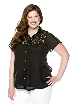 New Directions Plus Size Lace Yoke Top