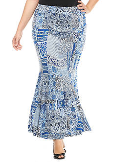 New Directions Plus Size Patchwork Maxi Skirt