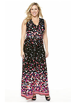 New Directions Plus Size Confetti Print Maxi Dress