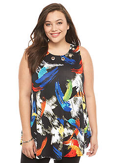 New Directions Plus Size Brush Stroke Swing Tee