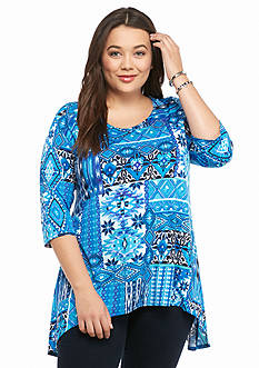 New Directions Plus Size Bar Back Printed Top