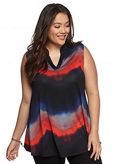 New Directions Plus Size Ombre Swing Top