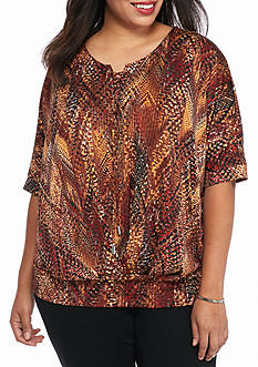 New Directions Plus Size Banded Hem Lace-Up Top