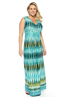 New Directions Plus Size Origami Maxi Dress