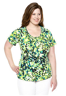New Directions Plus Size Popcorn Smocked Top