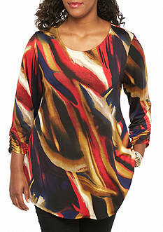 New Directions Plus Size Printed Swing Tunic