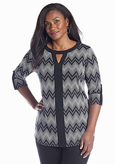 New Directions® Plus Size Colorblock Tunic