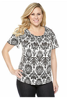 New Directions Plus Size Printed Popcorn Top