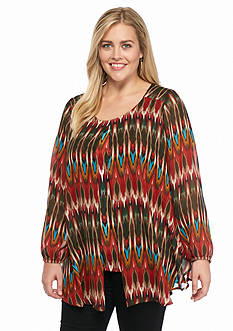 New Directions Plus Size Printed Flyaway Top
