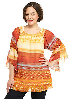 New Directions Plus Size Flare Sleeve Peasant Top