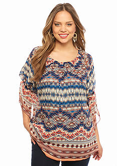 New Directions Plus Size Aztec Print Peasant Top