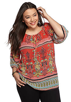 New Directions Plus Size Cold Shoulder Peasant Top