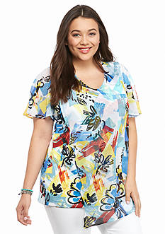 New Directions Plus Size Woven Asymmetrical Painter Tunic