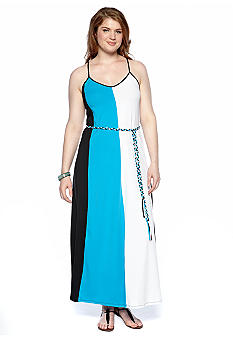 Cocomo Plus Size Belted Colorblock Maxi Dress