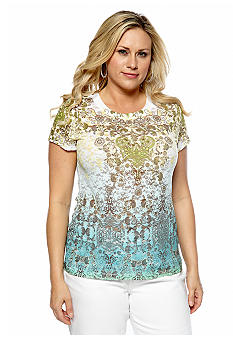 New Directions Plus Size Sublimation Printed Lace Tee