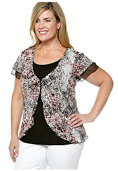 New Directions Plus Size Printed Lace 2-in-1
