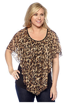 New Directions Plus Size Animal Print Lace Capelet