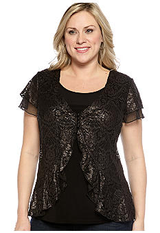 New Directions Plus Size Lace 2fer Top