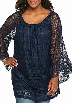 New Directions Plus Size Solid Lace Tunic