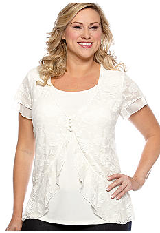 New Directions Plus Size Lace Overlay Flutter Sleeve Top