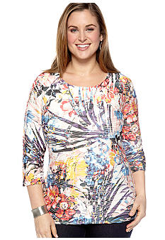 New Directions Plus Size Sublimated Floral Bodycon Tee