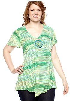 New Directions Plus Size Flutter Sleeve Top