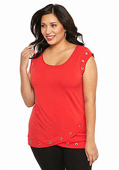 New Directions Plus Size Grommet Top