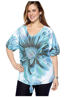 New Directions Plus Size Studded Floral Tie Front Top