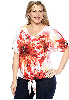 New Directions Plus Size Tie Front Floral Print Top