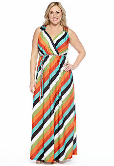 New Directions Plus Size Diagonal Stripe Maxi Dress