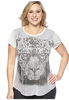 New Directions Plus Size Sequined Top