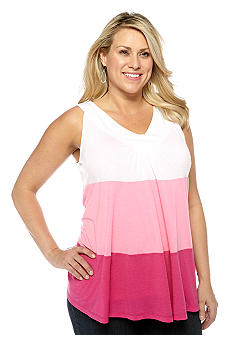 New Directions Plus Size Colorblock Tank