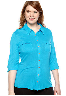 New Directions Plus Size Utility Shirt