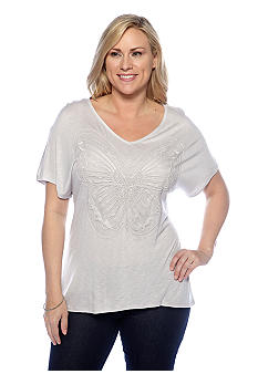 New Directions Plus Size Butterfly Tee