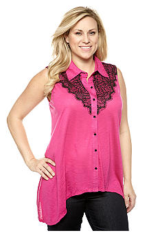 New Directions Plus Size Lace Trim Shark Bite Top