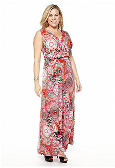 New Directions Plus Size Firework Print Maxi Dress