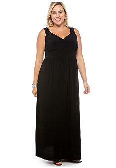 New Directions Plus Size Empire Waist Solid Maxi Dress