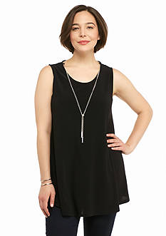 New Directions Plus Size Swing Tank with Silver Chain