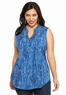 New Directions Plus Size Blotchy Jean Henley Top