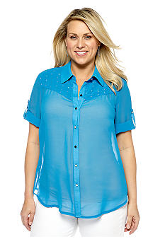 New Directions Plus Size Studded Equipment Shirt